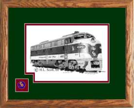 Chesapeake and Ohio Railroad #4020 art print framed in style D