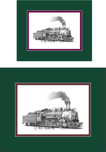 Durango and Silverton Narrow Gauge Railroad #478 art print matted in green