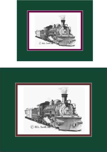 Durango and Silverton Narrow Gauge Railroad #480 with plow art print matted in green and maroon