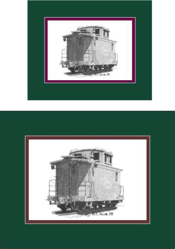 Durango and Silverton Narrow Gauge Railroad caboose art print matted in green and maroon