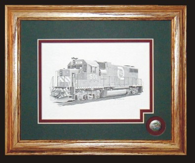 Florida East Coast Railroad 501 art print framed in style B