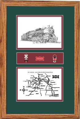 Frisco Railroad 1522 art print framed in style F