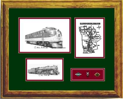 Illinois Central Railroad 4003 art print framed in style G