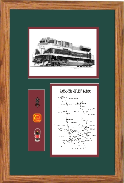 Kansas City Southern Railroad #4109 art print framed in style F
