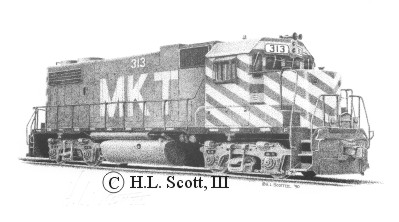 M K T railroad 313 art print