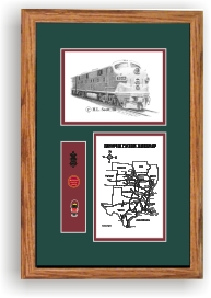 Missouri Pacific Railroad #7014 art print framed in style F