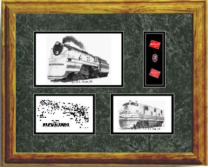 Milwaukee Road Railroad #100 art print framed in style G