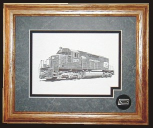 Penn Central Railroad  6277 art print framed in style B