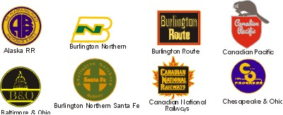 Alaska Railroad, Burlington Northern Railroad, Burlington Route Railroad, Baltimore and Ohio Railroad, Chesapeake and Ohio Railroad