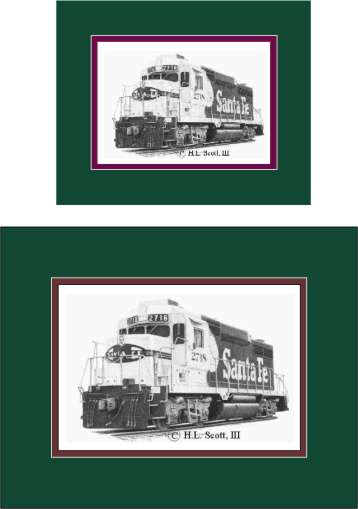 Santa Fe Railroad #2718 art print  matted