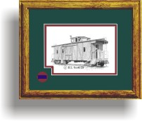 Sacramento Northern Railroad caboose art print framed in style B