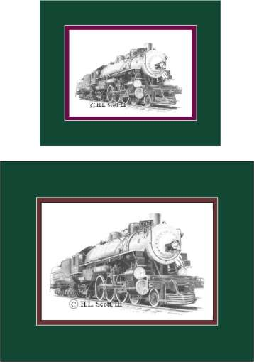 Southern Pacific Railroad #2472 art print matted in green