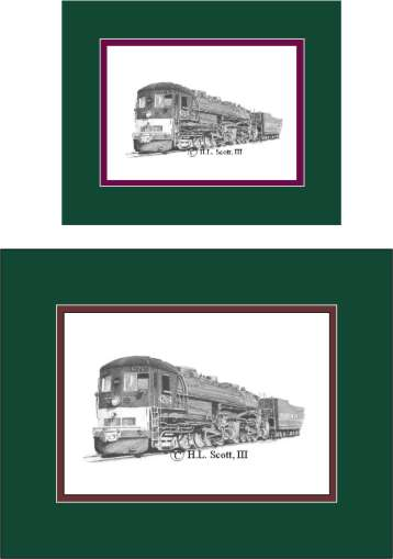 Southern Pacific Railroad #4264 art print matted in green