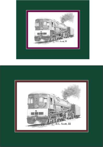 Southern Pacific Railroad #4294 Cab Forward art print matted in green