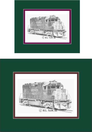 Southern Pacific Railroad #7661 art print matted in green