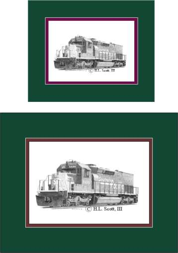 Southern Pacific Railroad 8494 art print matted in green