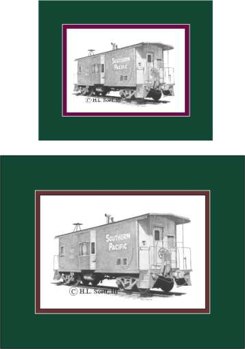 Southern Pacific Railroad caboose matted in green