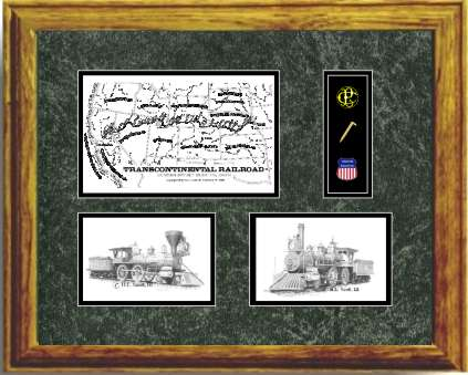 Union Pacific Railroad #119 and Central Pacific Railroad Jupiter art prints framed in style G
