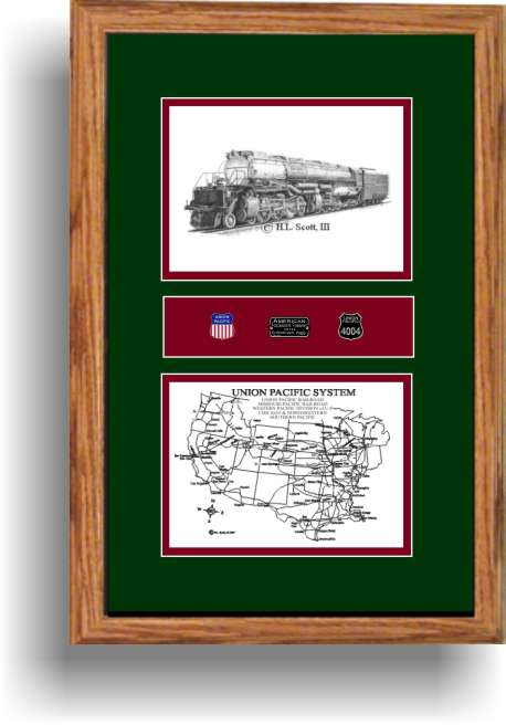 Union Pacific Big Boy railroad art print framed