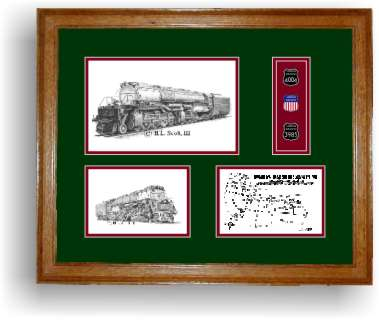 union pacific railroad art print framed