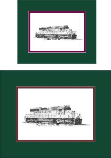Union Pacific 3652 art print matted