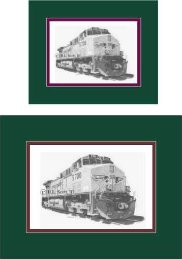 Union Pacific Railroad #5700 art print matted in green