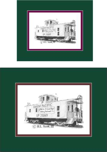 Union Pacific Railroad caboose art print matted in green