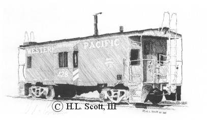 Western Pacific Railroad caboose art print